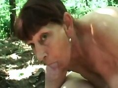 Granny woods deepthroating fat trouser snake penetrating doggy-style