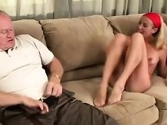 Platinum-blonde breezy gets her sole tongued