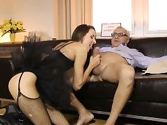 Tutu wearing british babe pussyfucking oldman