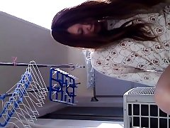 Asian teenage pees in can