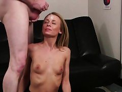 Super-naughty looker gets pearl juice stream on her face deepthroating all the s