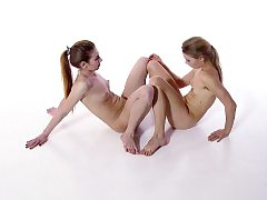 Smoothly-shaven and fur covered sisters Svetik and Rita