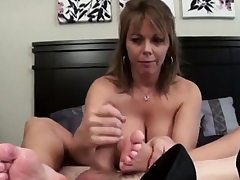 Sweat-soaked Feetjob and Cum inside her shoe.