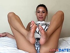 lovely brown-haired footjob