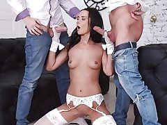 Tantalizing Brunette Angie Moon Has All Three Holes Used by Two Horny Guys