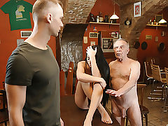 DADDY4K. Aged dad seduces uber-sexy brunette while son left..