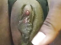 Black girl with big clit contract her enormous creamy pussy