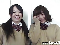 Schoolgirl from Japan farting into girlfriends adorable face