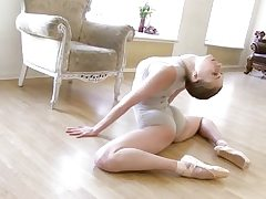 Gymnastic youthful shorthaired honey showcases abilities