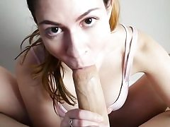 Footjob pov oral job in front of cam by a sexy babe