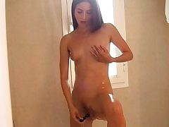 My sex-positive fledgling gf plays with a faux-cock and my wood
