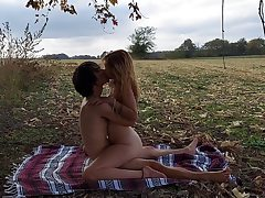 splendid ginger-haired teen gets plowed in a field